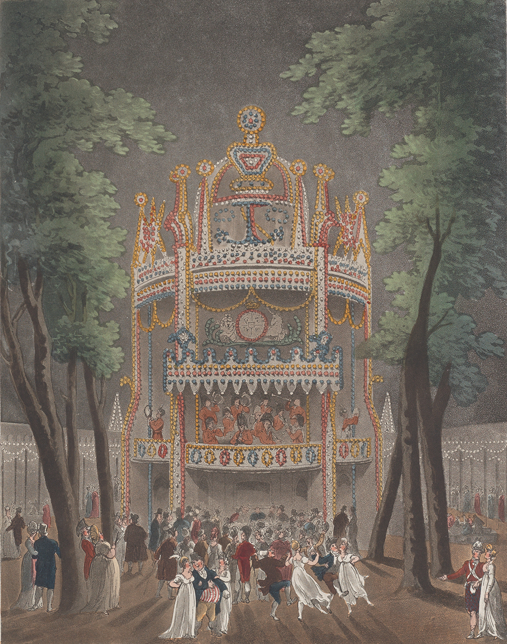 Vauxhall Garden, by Thomas Rowlandson, 1809. The Metropolitan Museum of Art, The Elisha Whittelsey Collection, The Elisha Whittelsey Fund, 1959.