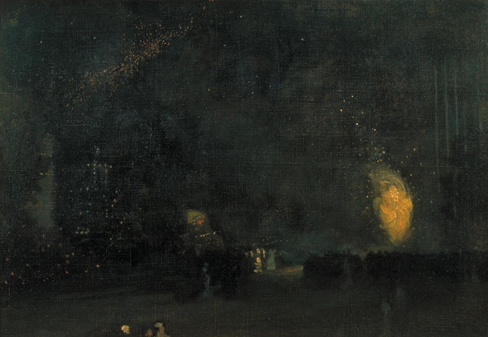 Nocturne: Black and Gold—The Fire Wheel, by James Abbott McNeill Whistler, 1875. Photograph © Tate (CC-BY-NC-ND 3.0).