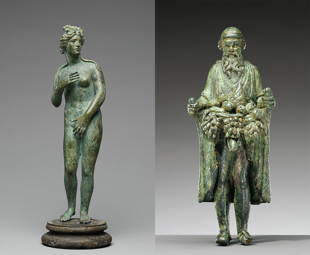 (L) Statuette of Venus and (R) statuette of Priapus, Roman, c. 100–200. The J. Paul Getty Museum, digital images courtesy of the Getty's Open Content Program.