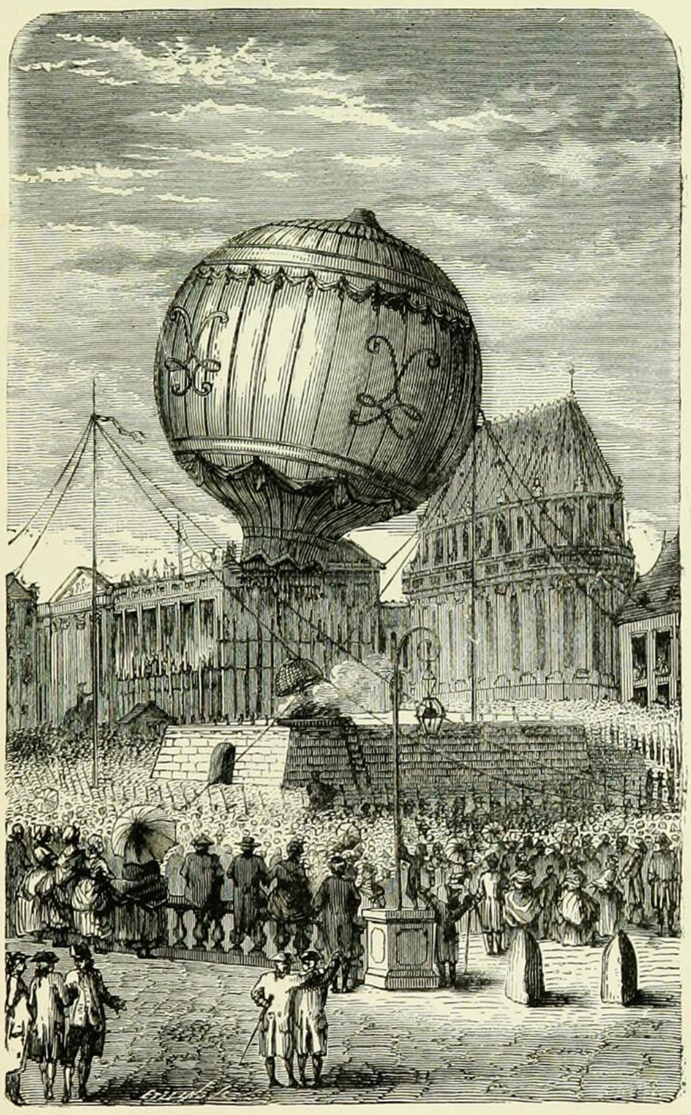 Balloon ascent at Versailles, illustration from Wonderful Balloon Ascents: or, the Conquest of the Skies; a History of Balloons and Balloon Voyages, 1888. Wellcome Collection.