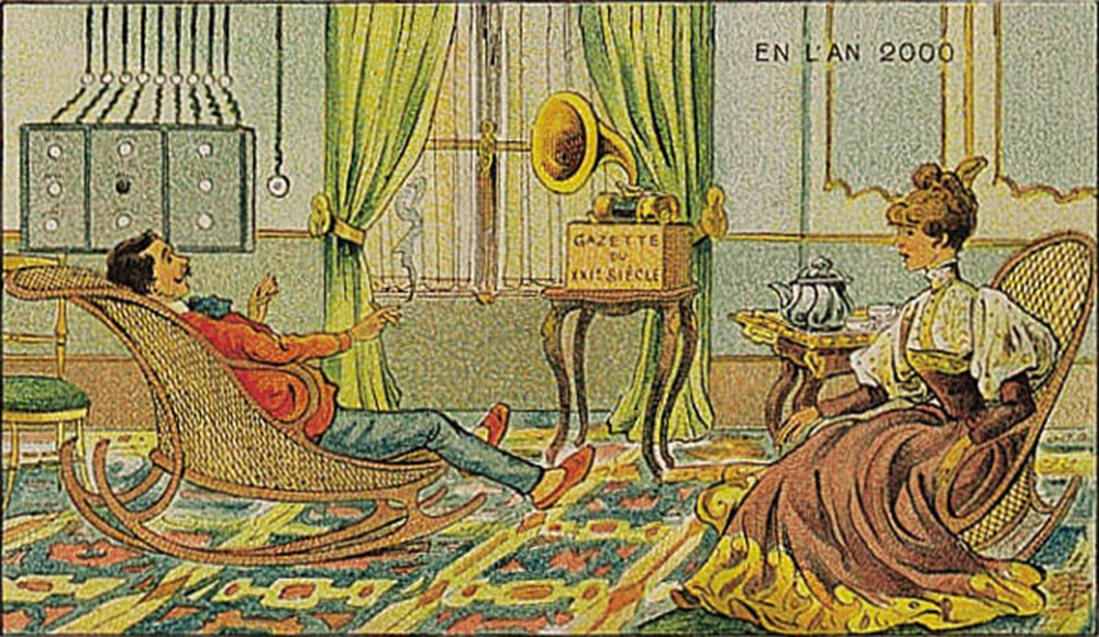 """Hearing the Newspaper,"" by Villemard, from the postcard series En L'An 2000 (In the Year 2000), 1910."