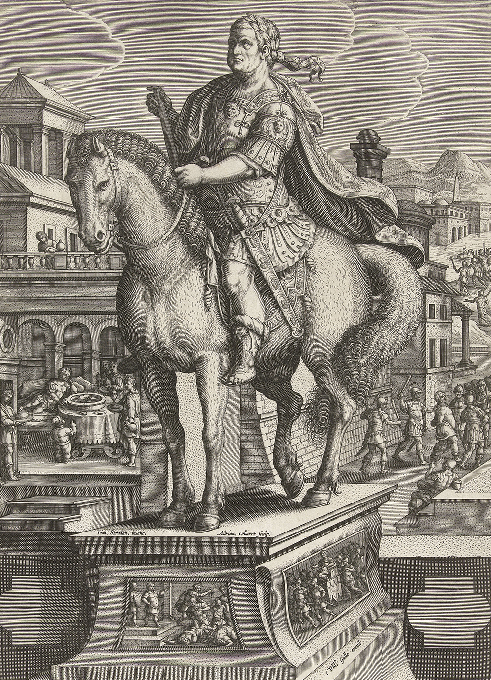 """Equestrian statue of Vitellius, with his death scene in the background at right, his body being thrown into the Tiber at upper right, from """"Roman Emperors on Horseback,"""" by Adriaen Collaert, c. 1587. Rijksmuseum."""
