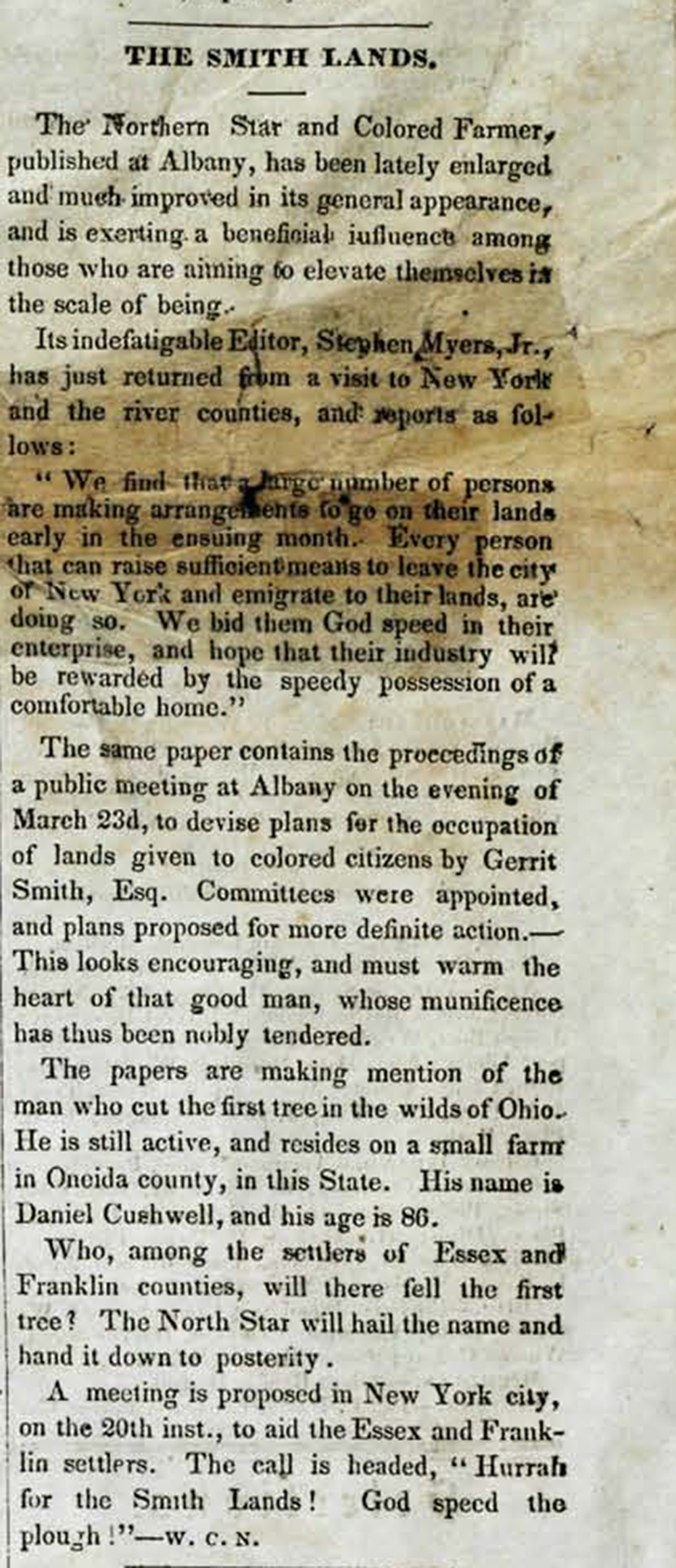The North Star, April 14, 1848. Central Library of Rochester and Monroe County, Historical Newspapers Collection.