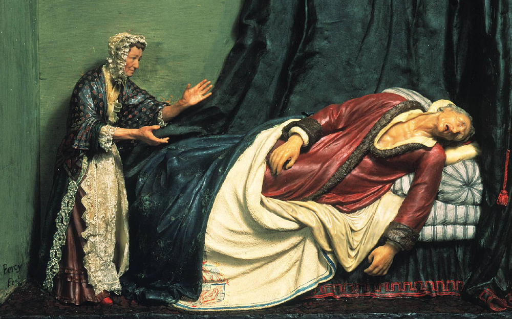 """Death of Voltaire,"" Samuel Percy, c. 1800. Victoria & Albert Museum/Art Resource."