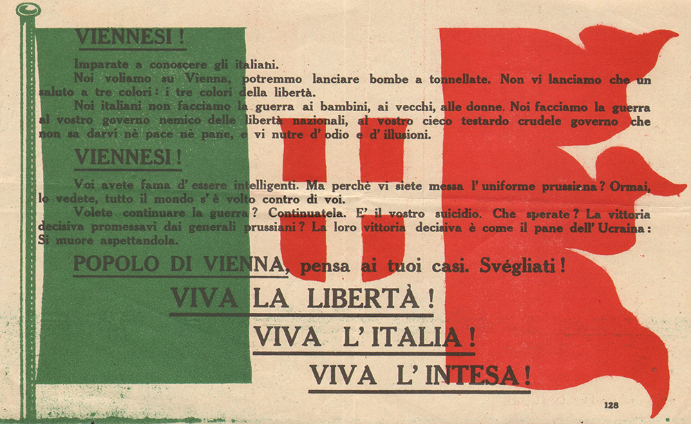 Propaganda leaflet that D'Annunzio threw from his airplane during his flight above Vienna, 1918. Private archive of Burzagli family, CC BY-SA 3.0.