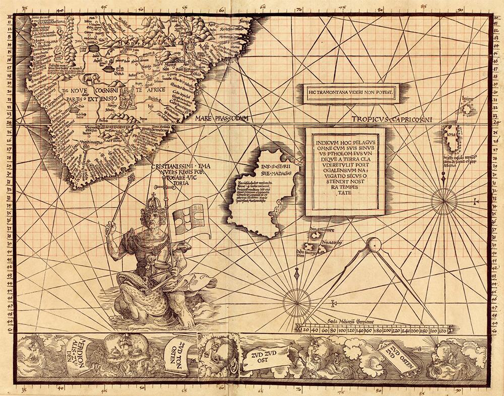 Plate 11 of Carta Marina, by Martin Waldseemüller, 1516. Library of Congress.