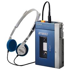 Blue Walkman with headphones