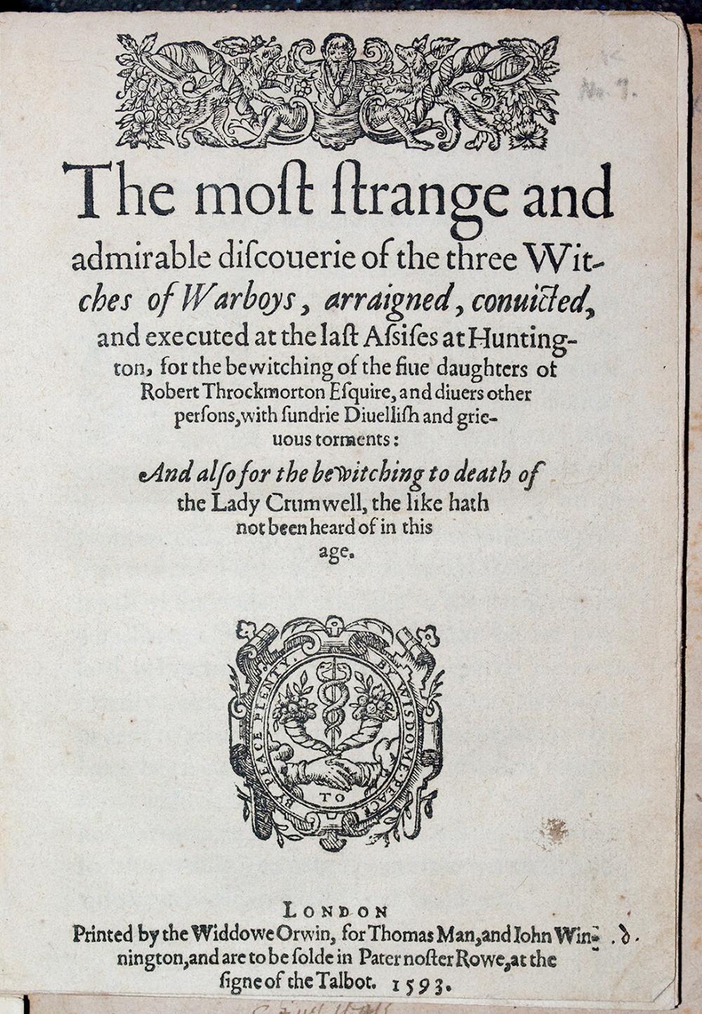 Pamphlet on the subject of the Throckmorton witch incidents, 1593.