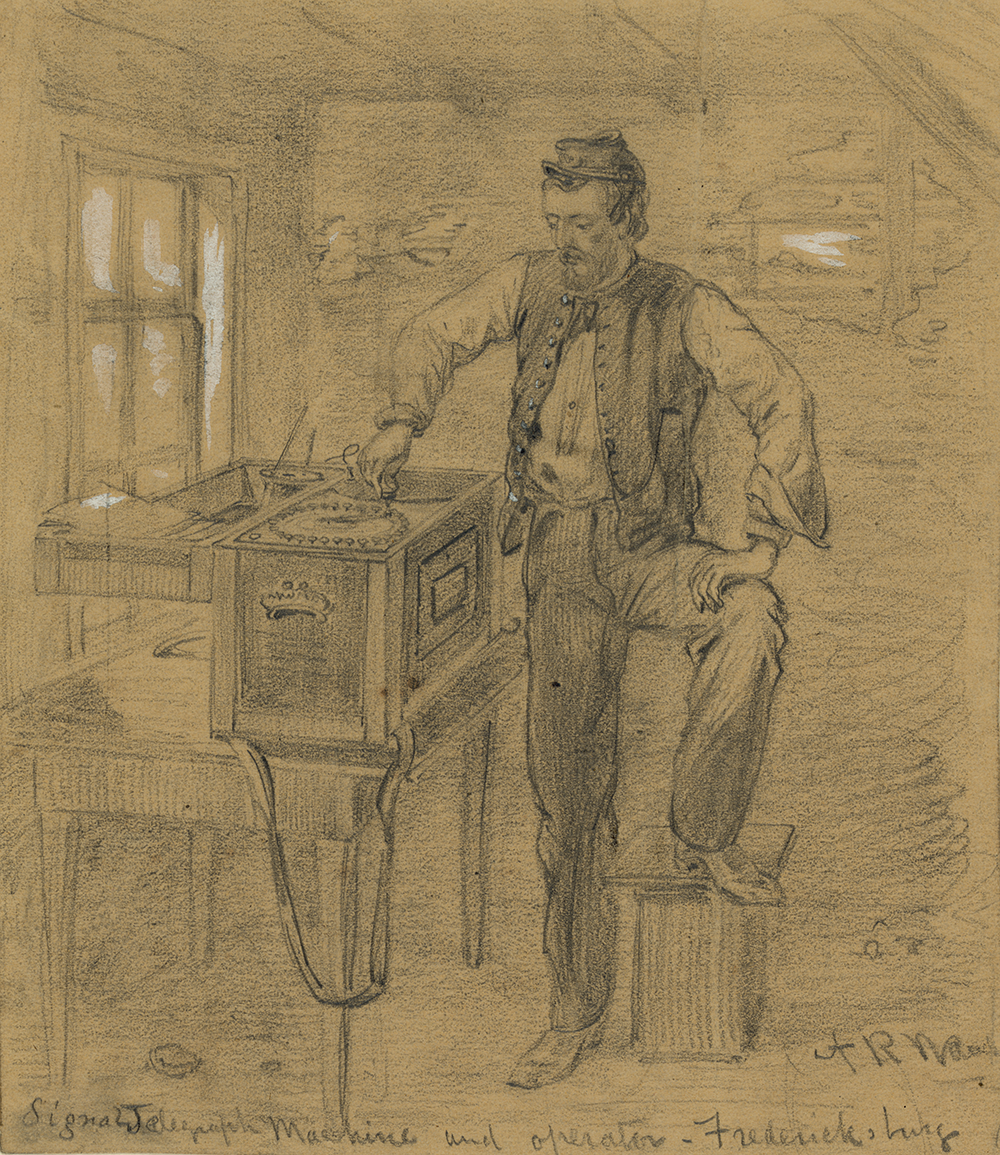 Signal telegraph machine and operator, Fredericksburg, Virginia, by Alfred R. Waud, 1862. Library of Congress, Prints and Photographs Division.