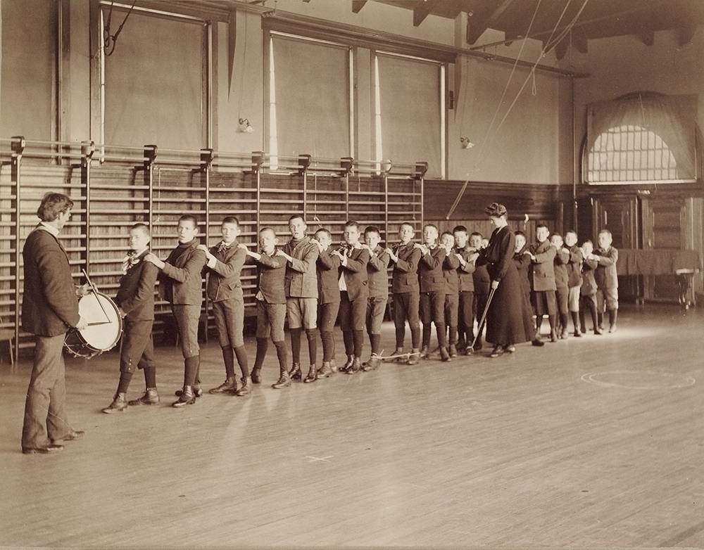 Students inside the Fernald's gymnasium, c. 1903. Photograph by William A. Webster. Harvard Art Museums/Fogg Museum, Transfer from the Carpenter Center for the Visual Arts, Social Museum Collection.