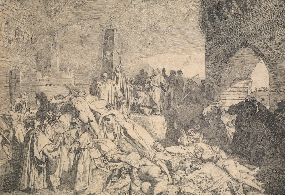 An etching depicting the plague in Florence in 1348. Several dead and dying people lay in the street while priests pray over them.