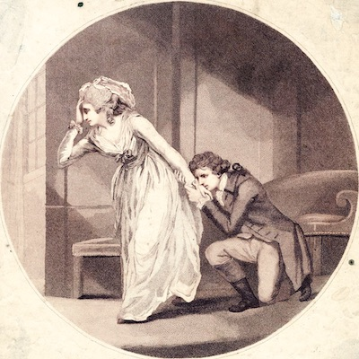 A drawing of a man kneeling at the foot of a woman holding her hand. She pulls away from him in distress.
