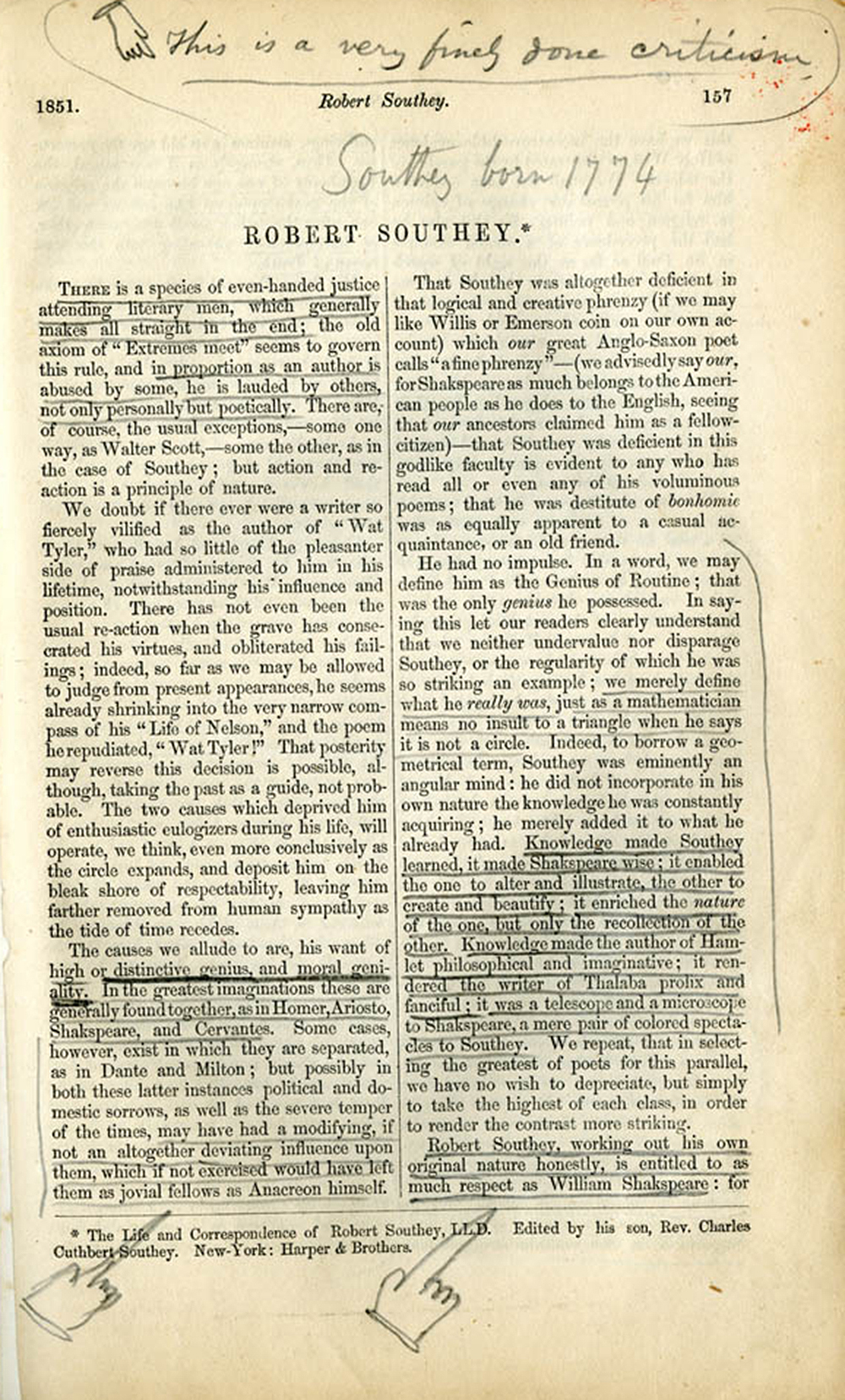 Walt Whitman marginalia in the February 1851 issue of the American Whig Review. The Walt Whitman Archive, Middlebury College Library, Special Collections.