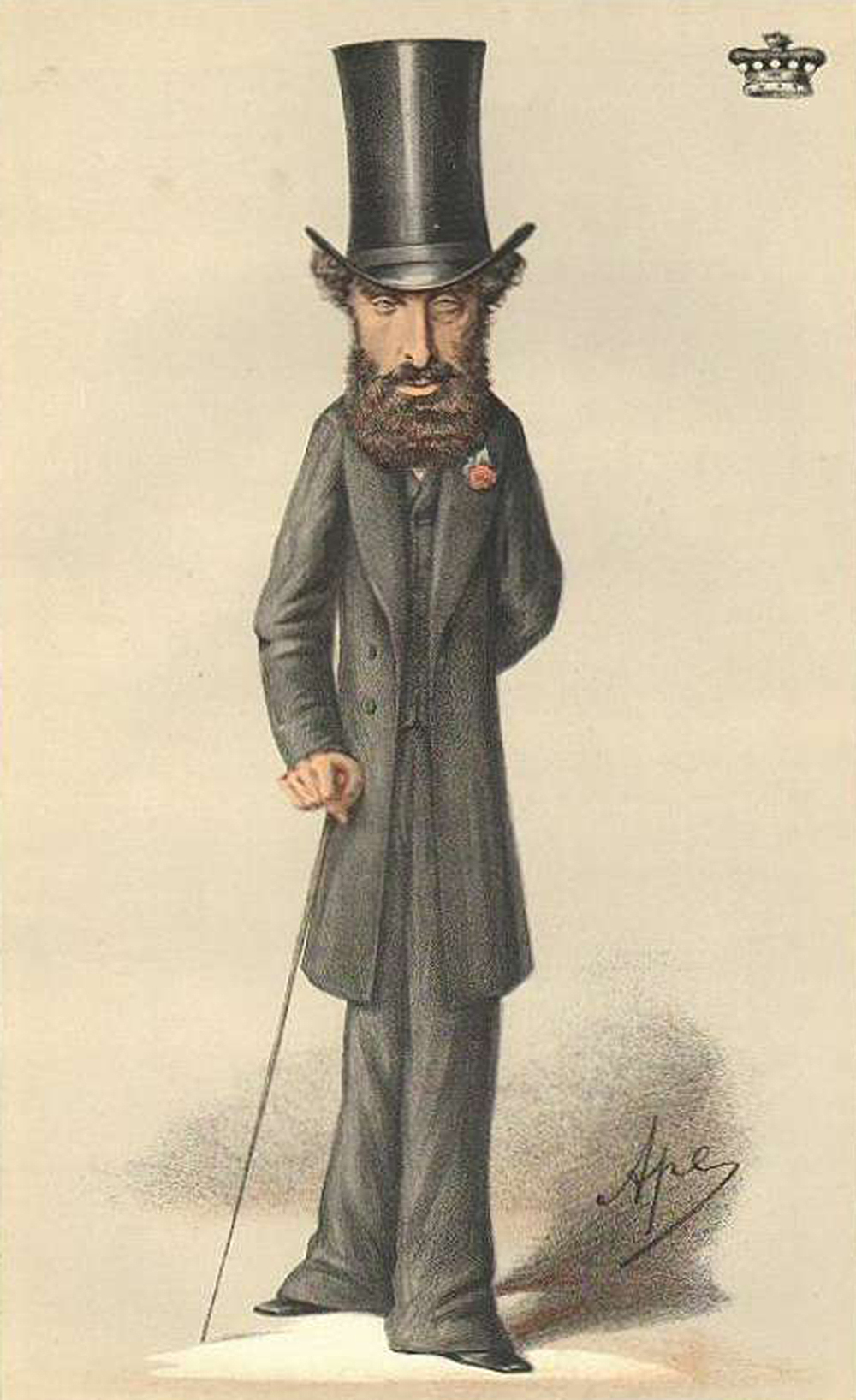 """Caricature of Edward Bulwer-Lytton from """"Vanity Fair,"""" by Carlo Pellegrini, 1870. Wikimedia Commons."""