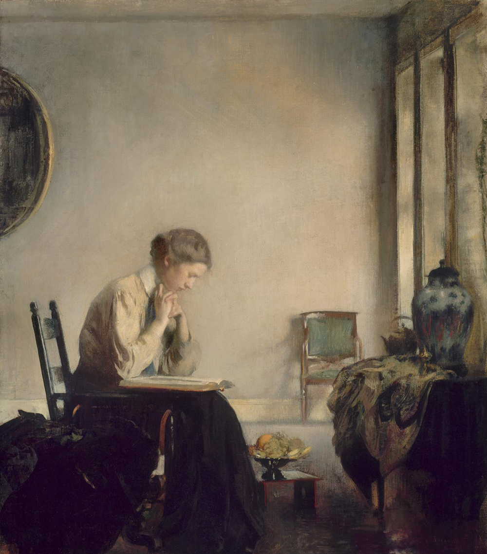 Girl Reading, by Edmund C. Tarbell, 1909. The Museum of Fine Arts, Boston, The Hayden Collection—Charles Henry Hayden Fund.