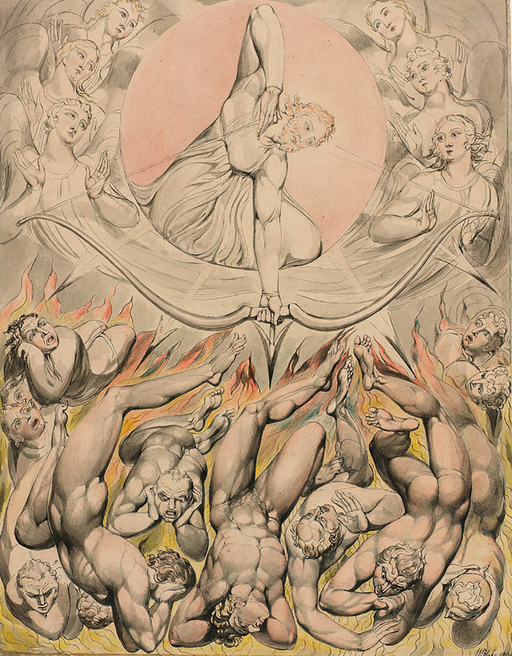 The Casting of the Rebel Angels into Hell (illustration of Milton's Paradise Lost), by William Blake, 1808.