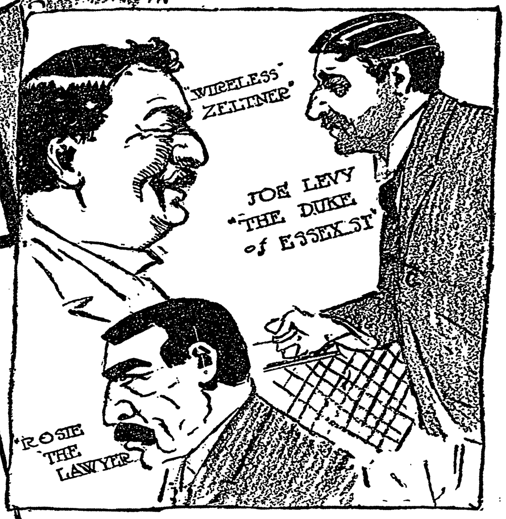 "Illustration of Louis ""Wireless"" Zeltner from ""Lights and Shades of Life in a City Court: Essex Market, the Most Foreign of New York's Dispensaries of Justice, Is Filled with Strange Tongues and Picturesque Persons,"" New York Times, March 29, 1908."