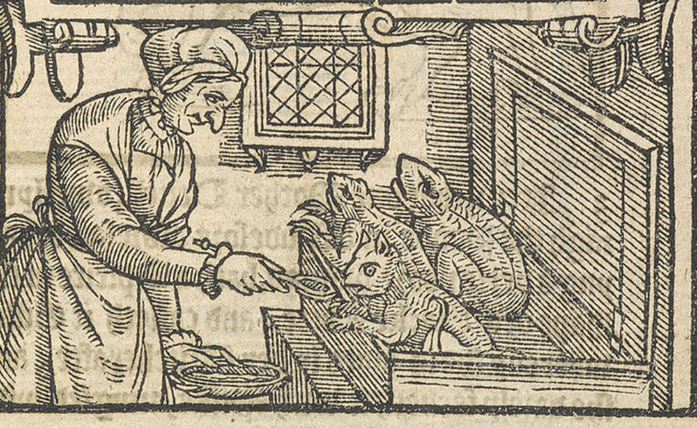 """Witch feeding her familiars with blood, in """"A Rehearsall Both Straung and True, of Hainous and Horrible Actes Committed by Elizabeth Stile,"""" 1579. British Library."""