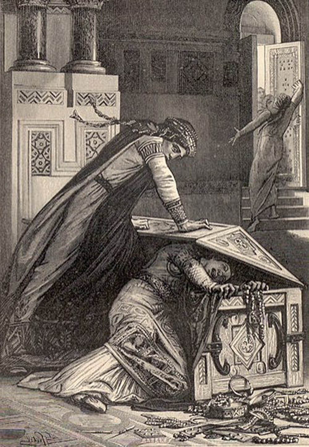 "Fredegund tries to kill her daughter Rigunth, 1887. From ""Vieilles Histoires de La Patrie."""