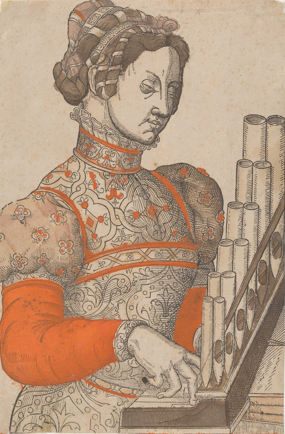 A colored woodcut of a woman playing a small organ.