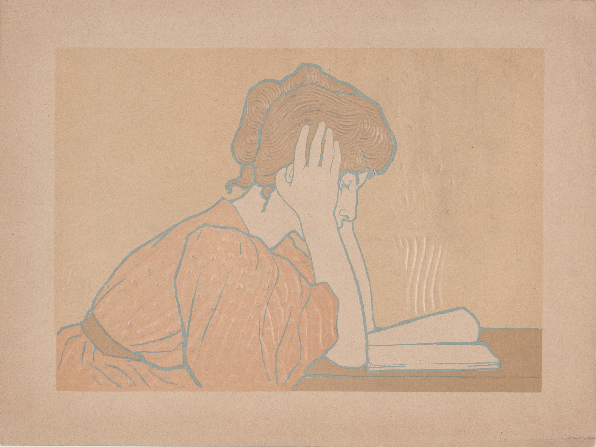 a print of a woman reading. She is seated a table, leaning over the book, holding her head in her hand.