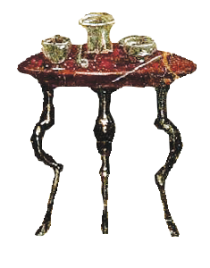 A depiction of a thin-legged wooden table from a Roman fresco.