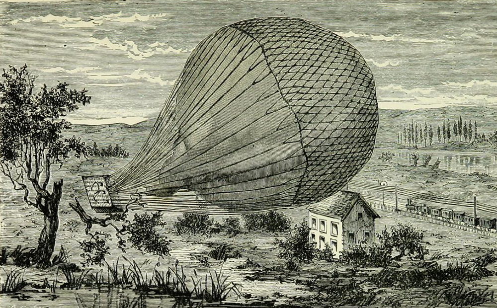"""Wreck of the Géant, illustration from """"Wonderful balloon ascents: or, the conquest of the skies; a history of balloons and balloon voyages,"""" 1888. Wellcome Collection."""