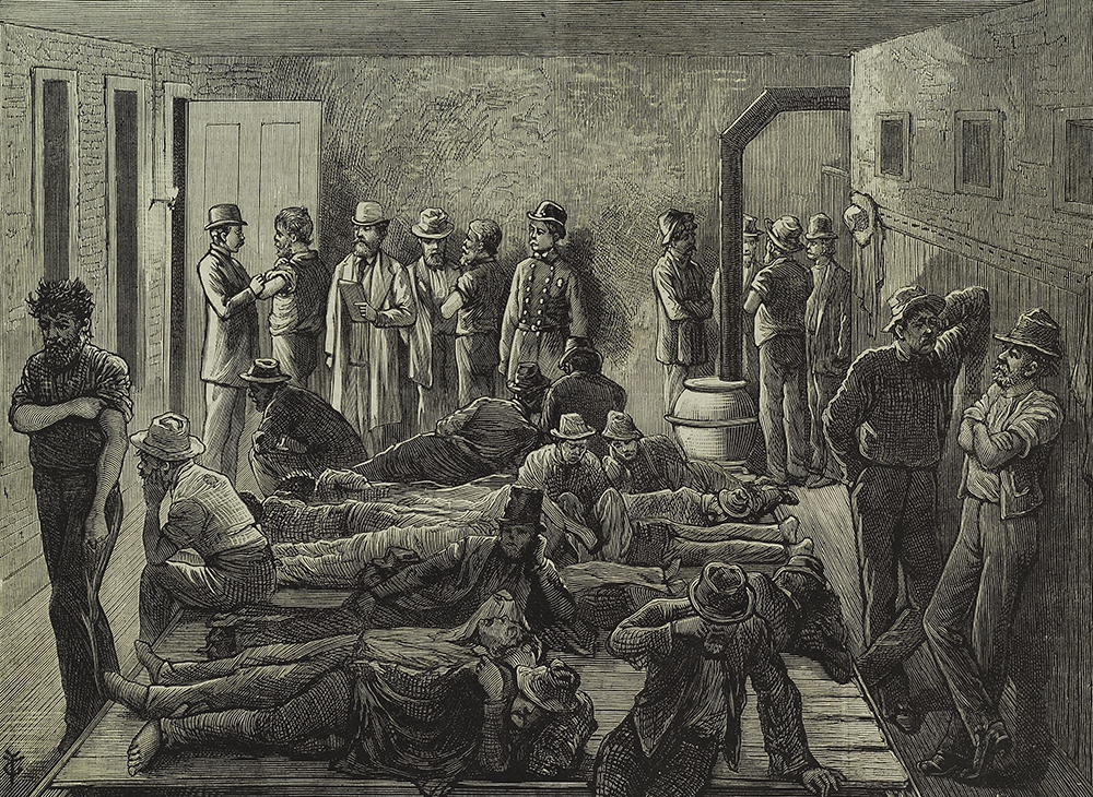 An Inspector of the Board of Health Vaccinating Tramps in a Station House During a Smallpox Epidemic, by Frank Leslie, 1879. The New York Public Library, General Research Division.