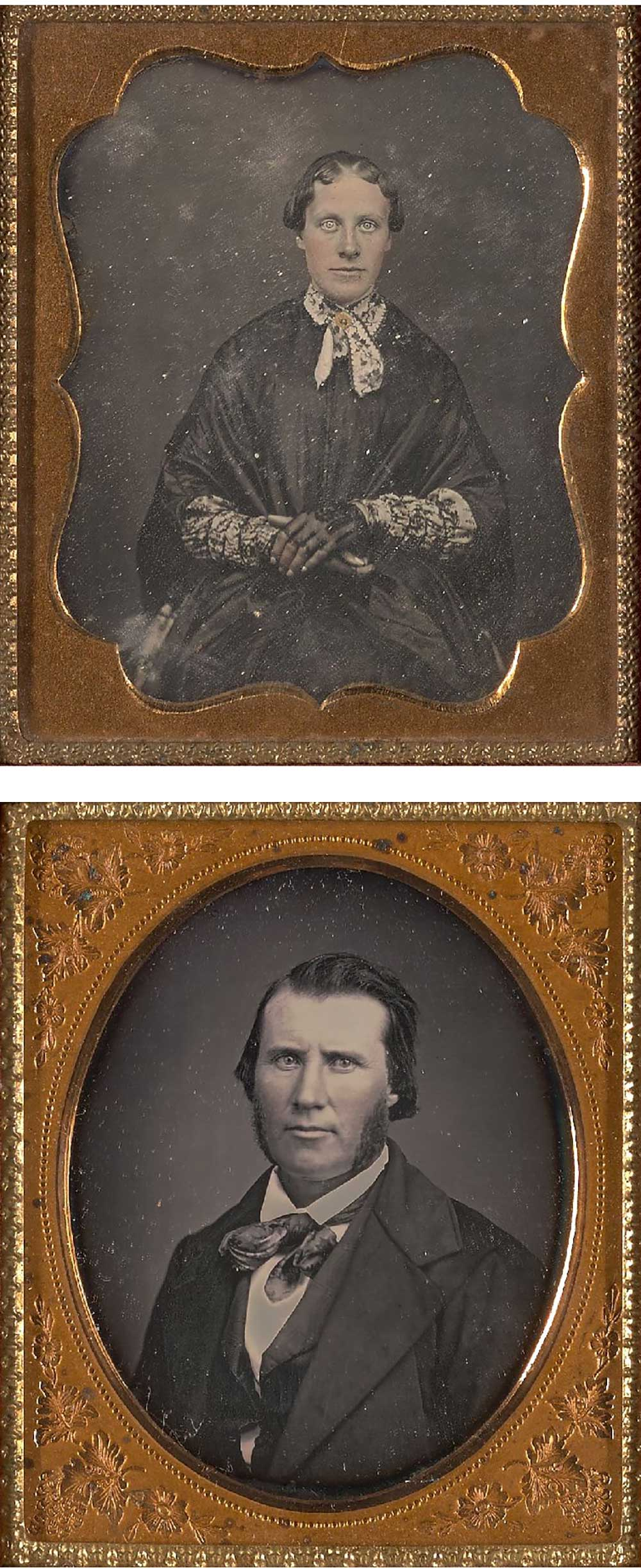 Top: Daguerreotype of a woman, c. 1854. Photograph by Candace McCormick Reed. Bottom: Daguerreotype of a man, c. 1855. Photograph by Mrs. Short.